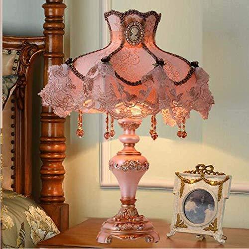 Dightyoho Lámpara Escritorio Iluminación de Moda de Estilo Europeo lámpara de cabecera de Dormitorio de Boda de Gama Alta idílica Princesa Encaje 33x55 cm