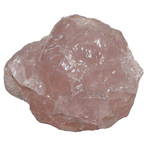 Rosenquarz Rohstein Rohstück aus Madagaskar Größe L: ca. 300-400 Gramm Computer - Stein gegen Elektrostrahlen (3406)