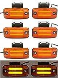 8 luces LED de 24 V, color naranja neón con soportes para remolque, chasis, camión, caravana, autobús