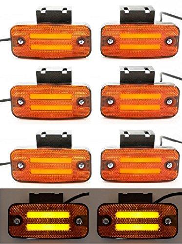 8 X 24 V LED Orange néon côté Outline Feux de gabarit avec supports de fixation Châssis de remorque Camion caravane Bus