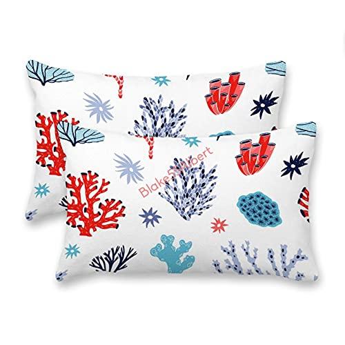 happygoluck1y Juego de 2 fundas de cojín rectangulares de corales y terciopelo, 30 x 50, color rojo y azul