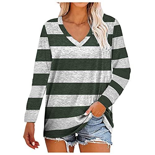Camiseta de manga larga para mujer, para mujer, estilo informal, larga, talla grande, túnica básica, cuello en V, blusa, verde, L