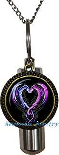 Dragon hearts Cremation Locket Necklace,Keepsake urn, Ashes Keepsake,remembrance gift,Cremation Urn jewelry, Dragon hearts cremation keepsake