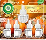 Air Wick Plug in Scented Oil 5 Refills, Pumpkin Spice, Fall Scent, Fall Spray, (5x0.67oz), Essential Oils, Air Freshener, Packaging May Vary, Pumpkin Spice