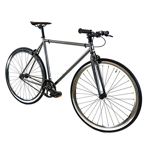 GOLDEN Cycles Single Speed Fixed Gear Bike with Front & Rear Brakes (Chromatic, 45)