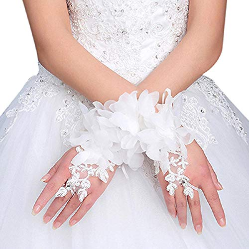GBSTA Vingerloze Handschoenen 1 Paar Mode Korte Strass Kant Handschoenen Vingerloze Wit Vrouwelijke Pols Handschoenen Elegante Vrouwen Avond Party Luvas Wit 2
