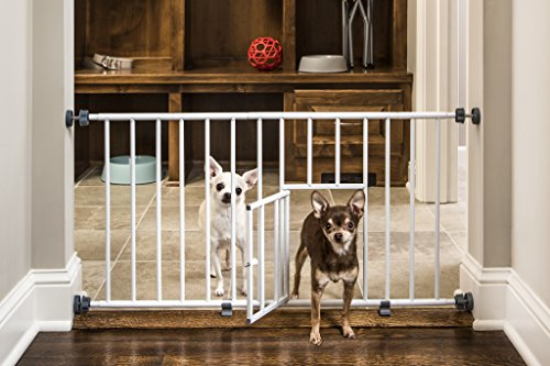 Carlson Pet Products MINI Expandable Extra Wide Pet Gate with Small Pet Door (916006), White, 18-31 inches