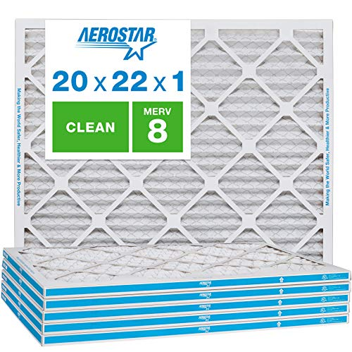 Aerostar Clean House 20x22x1 MERV 8 Pleated Air Filter, Made in the USA, 6-Pack