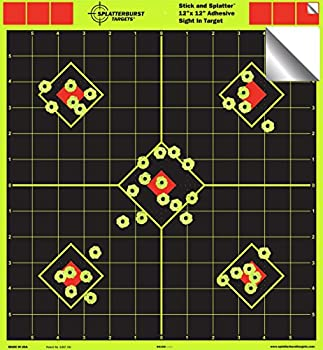 12 x12  Sight in Adhesive SPLATTERBURST Shooting Targets - Instantly See Your Shots Burst Bright Fluorescent Yellow Upon Impact!  25 Pack