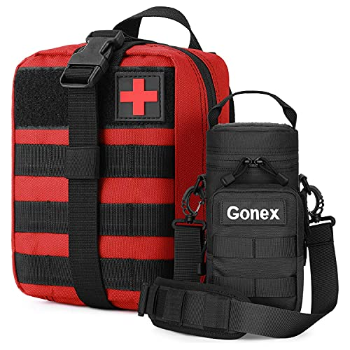 Gonex MOLLE Medical Pouch with Water Bottle Pouch for Backpack Camping Travel Outdoor Activities