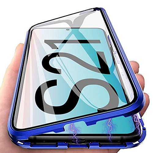 per Samsung Galaxy S21 Cover, Adsorbimento Magnetica Custodia, E-Lush Caso 360 Gradi Protezione Anteriore e Posteriore Vetro Temperato Cover Trasparente Custodia Flip Case Metal Bumper, Blu