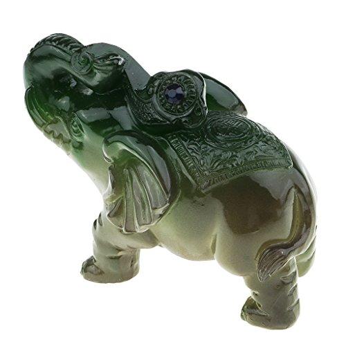 Baoblaze Éléphant Statuette de Résine Figurine Animale Symbole de Bon Augure Cadeau Créatif pour Amis/Famille - vert