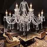 LIUMANG Modern Elegant 12 Lights K9 Crystal Glass Chandelier Pendant Ceiling Lighting European Style for Dining Living Room Bedroom Transparent,12 E12 Bulbs Required