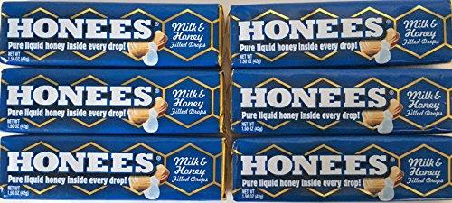 Honees All Natural Milk & Honey Flavor Honey Filled Drops 9 Count (Pack of 6)