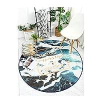 ラグ・カーペット・マット ラウンドギャラクシーエリアラグふわふわリビングルーム子供用寝室の家の装飾ソファオフィス滑り止め敷物 ラグ・カーペット (Color : Horn of the Sea, サイズ : 39.4)