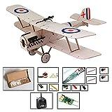 Kit d'avion micro RC, kits d'avion en bois de balsa de 14,8 '' découpés au laser à construire pour les adultes, avion radiocommandé électrique non assemblé (KIT + moteur + ESC + servo + TX / RX401)