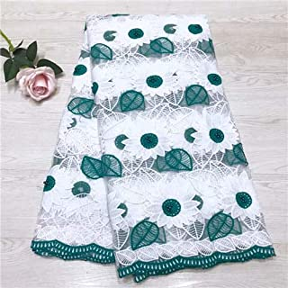 Lace - Nigerian lace Fabrics for Wedding African Fabrics ASO Oke headtie with Beads Soft frenh net lace materials5yard/lotJW264 - (Color: Green)
