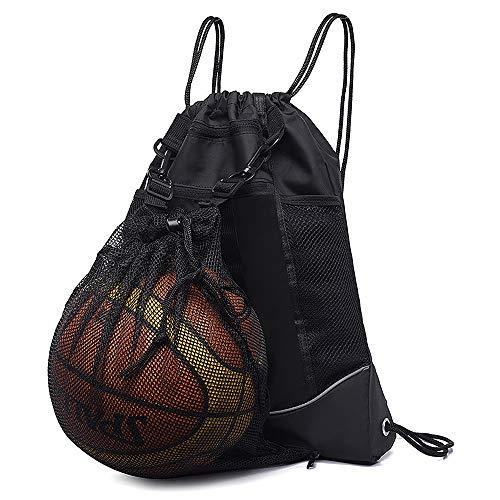 STAY GENT Drawstring Basketball Backpack for Boys, Foldable Soccer Backpack Gym Bag Sackpack Sports Sack with Detachable Ball Mesh Bag for Volleyball Baseball Yoga, Black