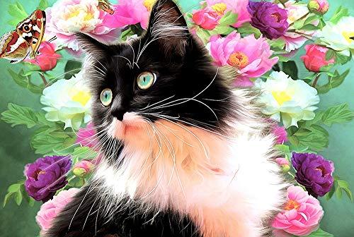 Qilo Rompecabezas de Gatos Gatito del Gato Serie Rompecabezas - Gato en Flores - 300/500/1000 Pieza de Madera for los Amantes del Gato - Puzzle Juego Interesante decoración del hogar Rega