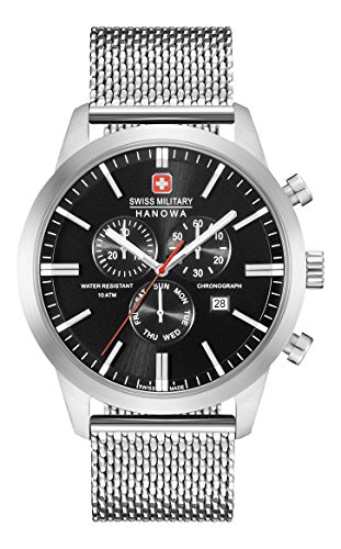 Swiss Military Hanowa Herren Analog Quarz Uhr mit Edelstahl Armband 06-3308.04.007