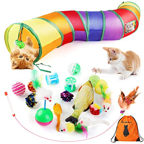 Dorakitten Cat Toys Kitten Toy Tunnel - 20PCS Indoor Interactive Toy Includes - Rainbow Tunnel Feather Teaser Fluffy Mouse Crinkle Balls Spring Toy...