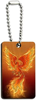 Phoenix Rising from The Flames Wood Wooden Rectangle Keychain Key Ring