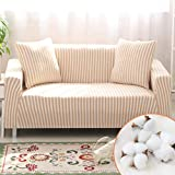 Homcosan Stretch Sofa Slipcovers Cotton Pattern Stripe Sofa Cover with 2 Pillowcases for 2 Cushion Couch Furniture Pet Protector Anti-Slip Stylish Sectional Couch(Mocha, Loveseat)