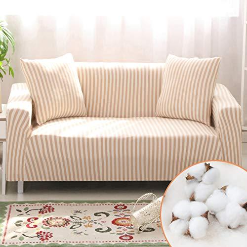 Homcosan - Funda elástica para sofá de 3 asientos, diseño de rayas, con 2 fundas de almohada, para cojines de 3 asientos, muebles de mascotas, antideslizante, elegante para funda de sofá seccional