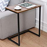 Sofa Side Table for Small Spaces - C Table End Table 26-inch - Couch Table for TV Tray Laptop Snack Coffee Bedside Table Living Room Bedroom Walnut