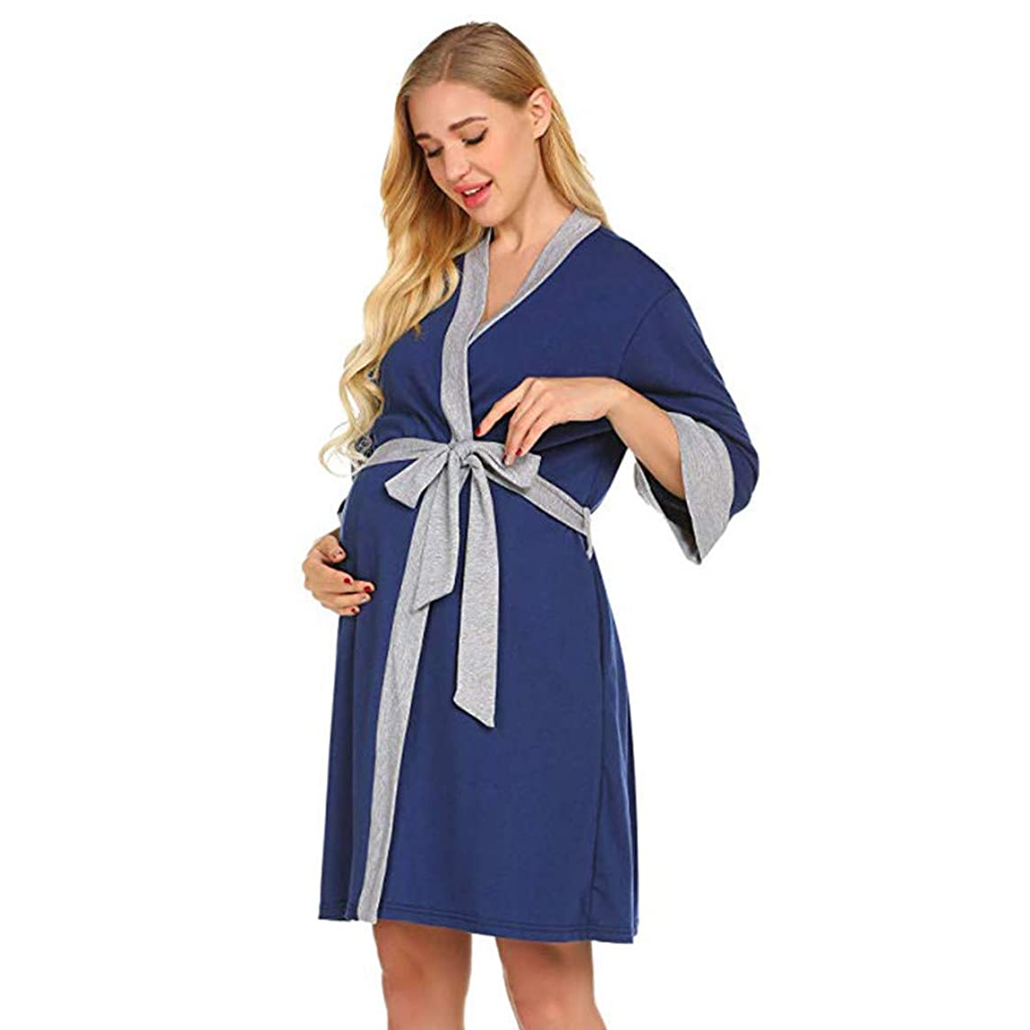 Dacawin_Maternity Blouse Maternity Nursing Robe,Women Delivery Nightgowns Breastfeeding Gown Comfortable Soft Dress