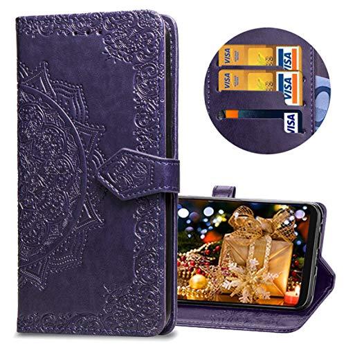 MRSTER LG Q60 Hülle, Premium Leder Tasche Flip Wallet Hülle [Standfunktion] [Kartenfächern] PU-Leder Schutzhülle Brieftasche Handyhülle für LG Q60 / LG K50. SD Mandala Purple
