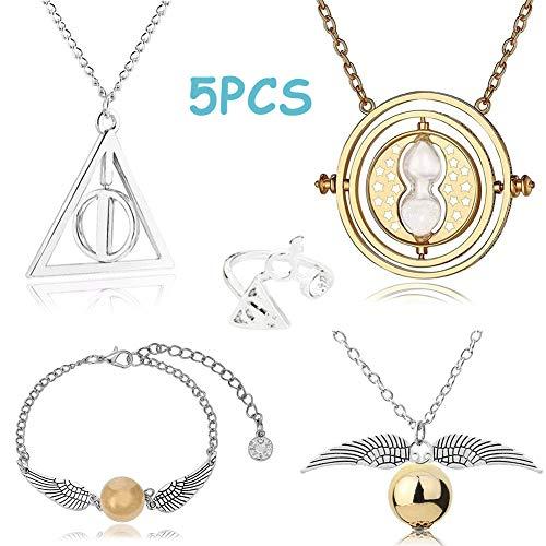 Collana Set BETOY 5PCS Set di Bracciale Collana Squillare e bracciali Time Morte Boccino d'oro per Collezione di regali o decorazioni Magici Cosplay Costume
