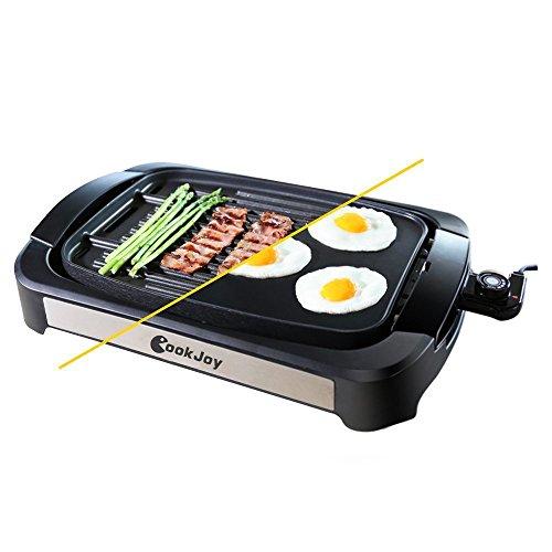 Parrilla Grill electrica antiadherente 1800W, Barbacoa, Plancha eléctrica con placa reversible desmontable,, Temperatura ajustable sandwichera, panini, libre de BPA CookJoy