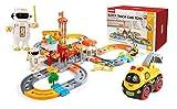Train Set Spielzeug, Eisenbahn Set, Schienengleis Spielzeug Elektro-Auto-Spielzeug, 130 Stück, Autorennbahn Spielzeug, Baugewerbe Schienengesetztem mit Cartoon-Auto und Wireless-Roboter for Kinder Kle