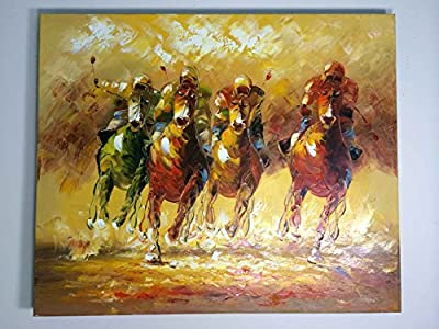 Abstract Framed Yellow and Gold Horses Herd Wall Art Oil Painting 1 Piece