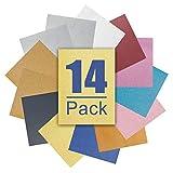 AONESY set di 14 pellicole di trasferimento glitter/glitter A4 / pellicola tessile per stiratura di tessuti per stampa a caldo plotter per film termoadesivo plotter per pellicola vinilica
