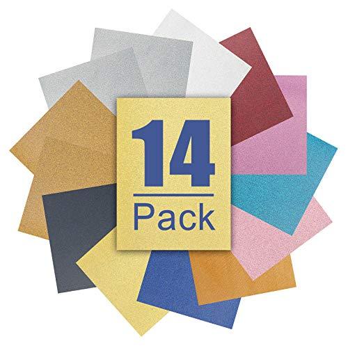 AONESY Juego de 14 películas de Transferencia película Textil A4 con Purpurina Purpurina para Planchar Textiles para la Prensa de Calor Plotter de película termoadhesiva para Planchar en Caliente