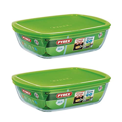 Pyrex Microwave Safe Classic Rectangular Glass Dish Vented Lid 2.6 Litre Green (Pack of 2)