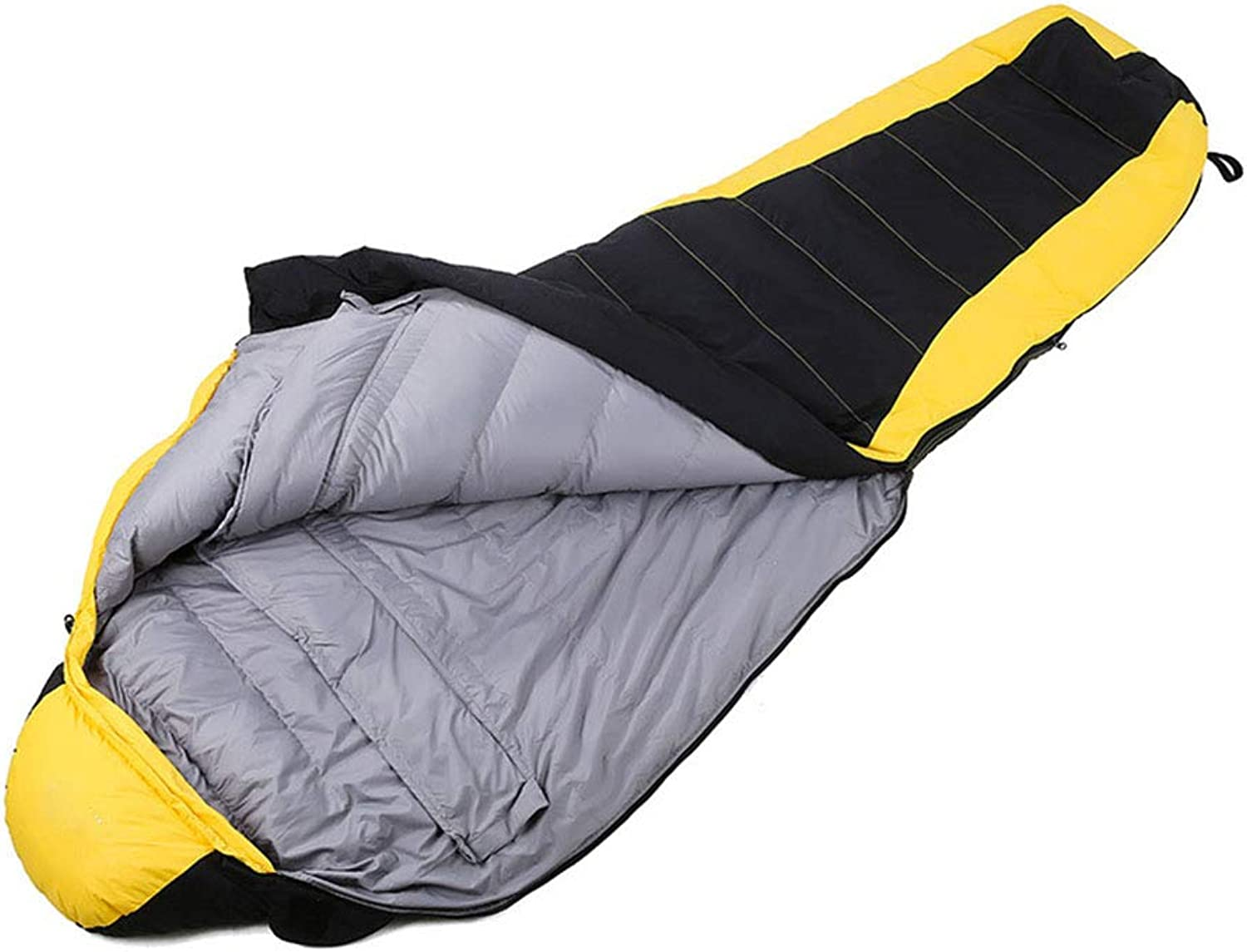 Mummy Sleeping Bag, 4 Seasons,Filling White Duck Down, Keep Warm, Soft and Comfortable,Suitable for Hiking, Camping, Tourism  Yellow