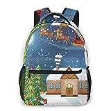 Lawenp Mochilas Escolares Clásico Paisaje navideño Papá Noel entregando Regalos con Rudolf, el...