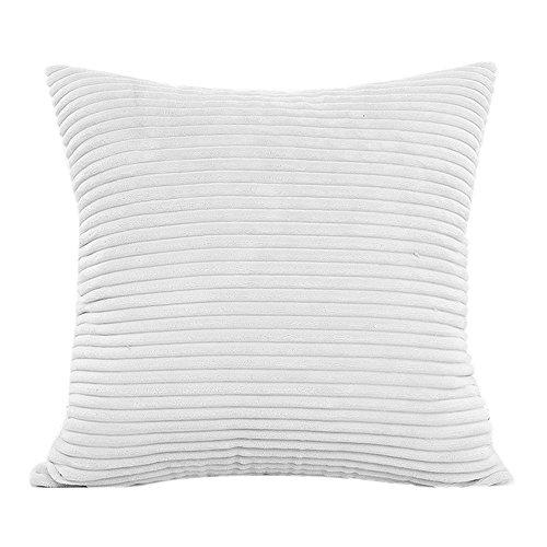 wuayi Quadratische, dekorative Kissenbezüge aus Plüsch mit Streifen, für Zuhause, Sofa-Dekoration (weiß)