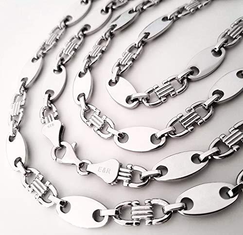 Plattenkette 9,95 mm 70 cm 925 echt Silber Kette rhodiniert Steigbügelkette Neu MASSIV Halskette