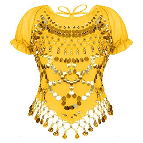 inlzdz Damen Bauchtanz Kostüm mit Pailletten Quasten Tanz T-Shirt Crop Top Kurzarm Bluse Tanzkleidung Indische Halloween Karneval Gelb OneSize