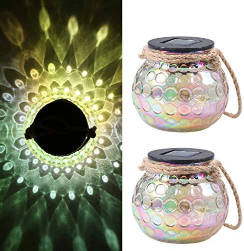 Solar Laterne Glas,Solarleuchte Glas Tomshine Solar Tischleuchte als Deko IP65 Wasserdicht für Garten,Hof【2 Stück