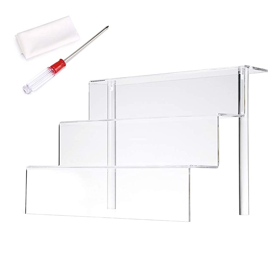 Hipiwe Acrylic Figure Display Stand for Amiibos Funko POP Figures Cupcake Display 3 Tier/Steps Clear Acrylic Riser Shelf for Table Cabinet Countertops,12