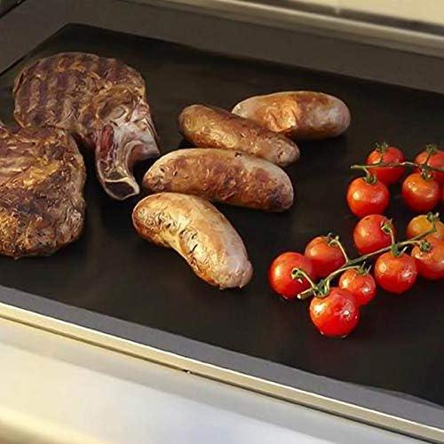 SHIM New BBQ Grill Mat 2 pcs/lot Non adhésif réutilisable BBQ Grill Tapis Feuille Grill Feuille Barbecue Liner réutilisable Griller Tapis Noir Noir