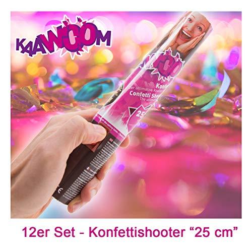 12er Set Konfettikanone / Konfettishooter / Party Shooter / Party Popper - 25 cm (Metallic-Konfetti) für Party, Hochzeit, Geburtstag, Junggesellenabschied und Karneval