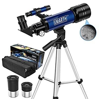 Emarth Telescope, Travel Scope, 70mm Astronomical Refracter Telescope with Tripod & Finder Scope, Portable Telescope for Kids Beginners (Blue) ??