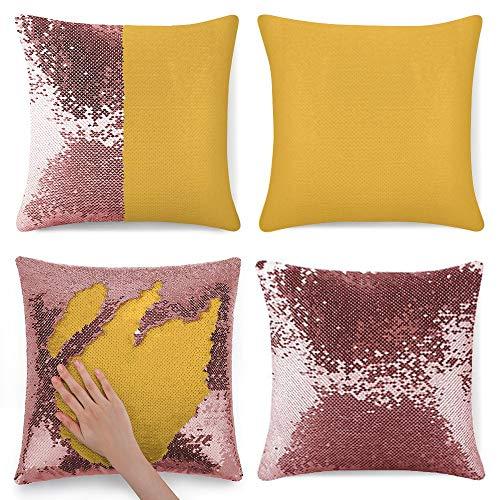 pealrich Fundas de almohada con lentejuelas de 40,6 x 40,6 cm, fondo naranja decorativo cuadrado funda de cojín para sofá, dormitorio, coche