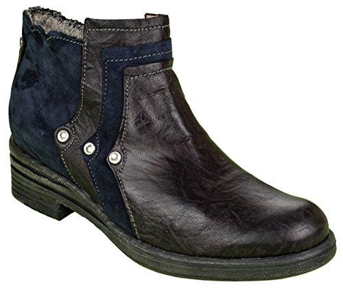 Charme Damen Boots gefüttert Leder Schwarz/Blau (41 EU)